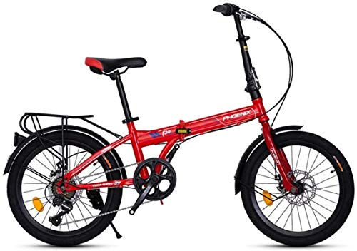 Mountain Bikes, Folding Bike, Great For Urban Riding And Commuting, Featuring Low Step-Through Steel Frame, Single-Speed Drivetrain, Rear Rack, And 20-Inch Wheels (Color : Red) Alloy frame with Disc B