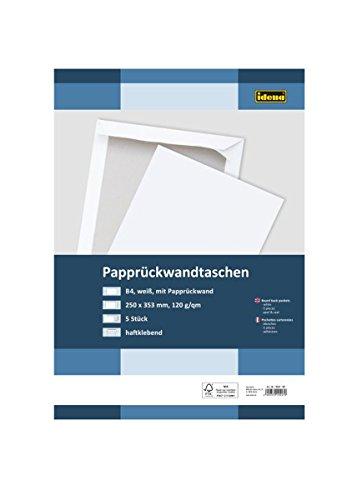 Idena 10247 - Versandtasche DIN B4, 120 g / m², haftklebend, mit Papprückwand, ohne Fenster, FSC-Mix, weiß, 5 Stück