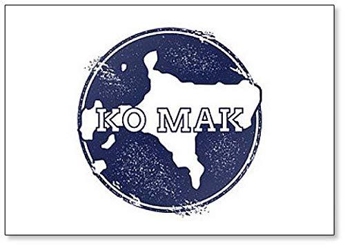 Ko Mak Kaart. Grunge Rubber Stempel met de naam en kaart van Island Koelkast Magneet