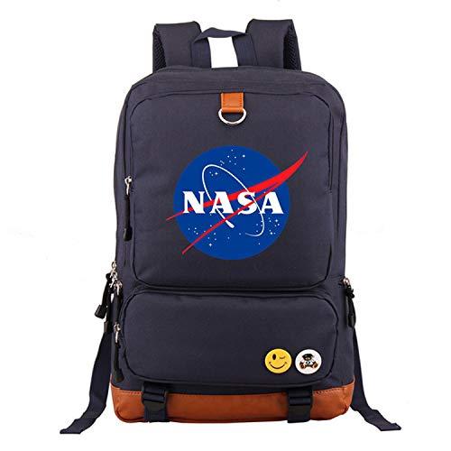 Memoryee Unisexo Mochila Escolar Informal Moda NASA Mochila para computadora portátil Impresa Mochila Multifuncional Mochila de Libro Bolsa de Senderismo Armada