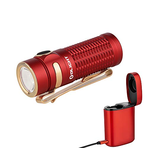 OLIGHT Baton 3 Premium Edition Compact Flashlight Rechargeable 1200 Lumens EDC Flashlight Powered by IMR16340 Battery with Pocket Wireless Charger Power Bank (Red)