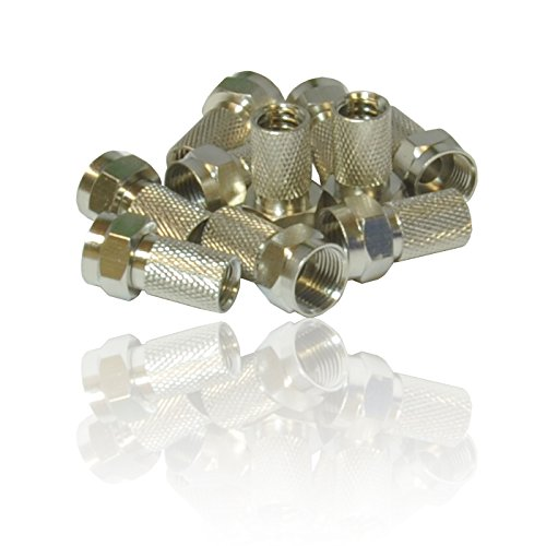 CDL Micro Screw/Twist on F Connectors for Satellite TV Aerial Coax Coaxial Cable RG6 (Pack of 10)