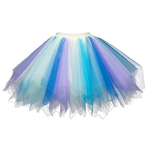 Feoya FEOYA Damen Kurz Retro Petticoat Rock Ballett Blase 50er Tutu Unterrock Tütü Abschlussball Tanzkleid Party Minirock Tüllrock