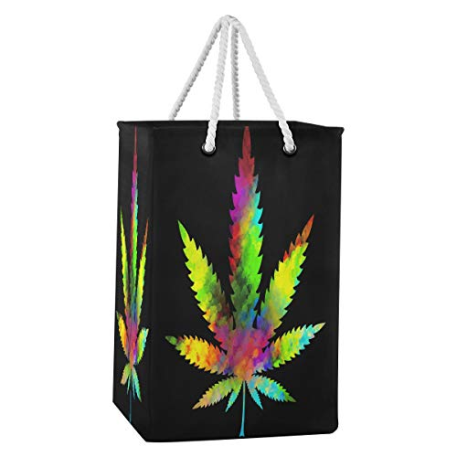 Rxyy - Cesto de marihuana con hojas de cannabis de 75 L, plegable, grande, tela de nailon, con asas de algodón extendidas para ropa y juguetes