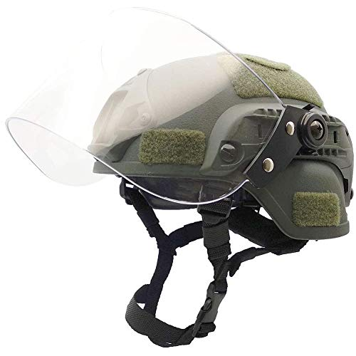 Dixinla Mich 2000 Medium Military Tactical Helm, Mit Kostenloser Anpassung, Clear Riot Visier Riot Brille Für Airsoft Paintball CS War Games Outdoor-Sportarten,Grün