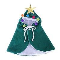 ペット服 クリスマス 猫服 犬服 クリスマスのマント帽子 クリスマス 衣装 猫・子犬 キャップ クリスマスプレゼント パーティ コスチューム 可愛い 変身服 人気 記念撮影 防寒 暖かい 猫 犬服 パーティーの服装は調整できます (S,グリーン)