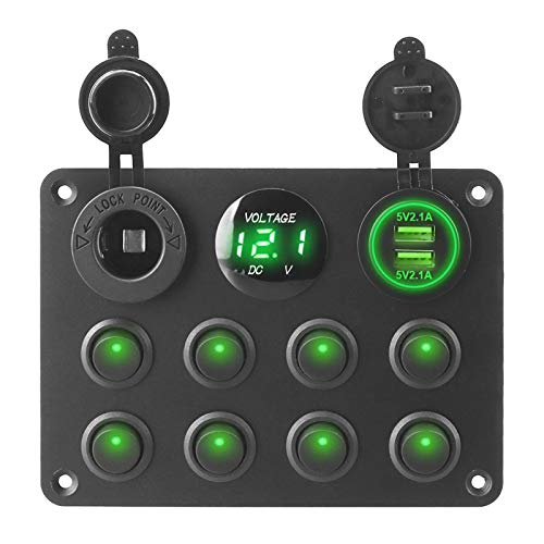YaoH Store 12-24 V 8 bandas cargador USB doble botón interruptor interruptor interruptor de interruptor de interruptor de circuito para coche, RV, camión, ATV, UTV, caravana (color verde)