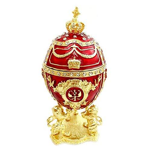 Cuzit Three Lions & Crown - Joyero con Forma de Huevo de Fabergé, esmaltado, diseño de Huevo de Pascua, decoración del hogar