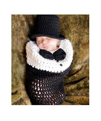 Himom Slaapzak van gebreid materiaal met muts voor wikkelen en fotograferen, complete set voor pasgeborenen, meisjes, jongens, 0-6 maanden, cadeau voor douche Zwart, Wit