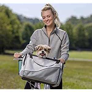 PetSafe Happy Ride Bicycle Basket for Dogs and Cats – Sport Style Light Nylon Material – Detachable Carrier with Shoulder Strap – Removable Sun Shield – Multiple Storage Pockets – Best for Small Pets