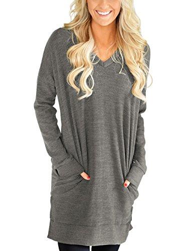 XUERRT Womens Casual V-NECK Long Sleeves Pocket Solid Color Sweatshirt Tunics Blouse Tops(X9009GreyNew1,L)