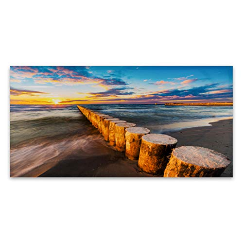 Wynniece Beach Painting Canvas Wall Art by The Water- Beach Wall Decor Canvas Art-Wall Decor Beach Wall Art-Coastal Wall Decor Beach Pictures-Wall Art Beach Art-Beach Canvas Wall Art (Boardwalk)