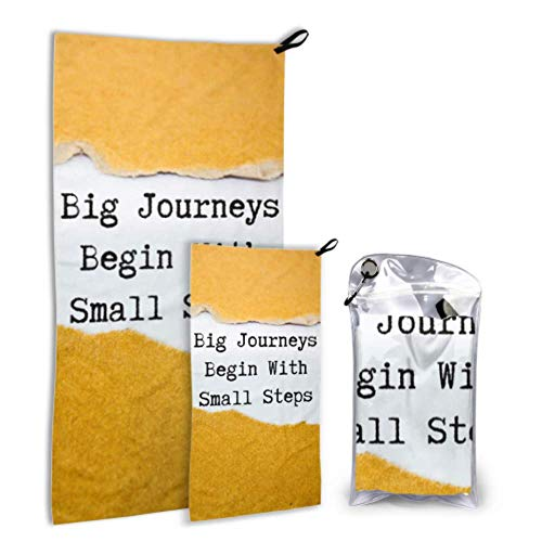 MOVTBA Big Journeys Begin with Small Step Quote 2 Pack Microfiber Beach Bath Accessories Teen Swim Towel Set Fast Drying Best for Gym Travel Backpacking Yoga Fitnes
