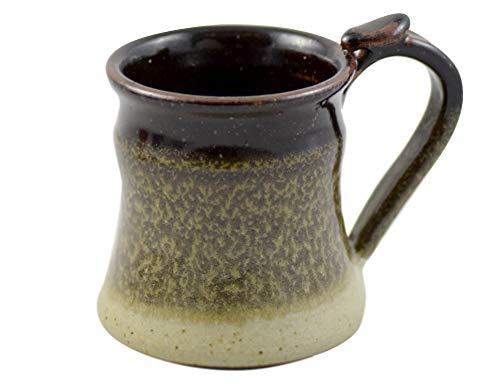 American Made Stoneware Pottery Classic Wide Base Mug with Thumb Grip, 14 oz (mocha cream)