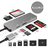 USB3.0 XD Card Reader, USB 3.0 (5Gps) High Speed TF/SD/MS/M2/XD/CF Memory Card Solt Combo Adapter, 6 in 1 Aluminum Card Reader,Compatible with Windows XP/Vista / 7/8 / 8.1/10, Mac OS, Linux