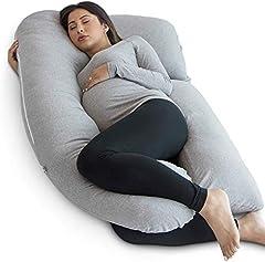 Pharmedoc Almohada De Embarazo con Cubierta De Jersey, Almohada De Cuerpo Completo En Forma De U Pregnancy Pillow with Jersey Cover, U Shaped Full Body Pillow (Jersey Gris)