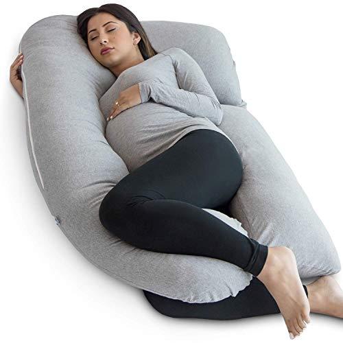 Pharmedoc Almohada De Embarazo con Cubierta De Jersey, Almohada De Cuerpo Completo En Forma De U Pregnancy Pillow with Jersey Cover, U Shaped Full Body Pillow