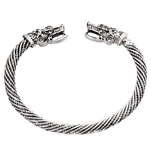 Brazalete con Cabeza de Lobo Vikingo, brazaletes para Hombre, Pulsera de Acero Inoxidable, Accesorios Punk, Sl1005Silver