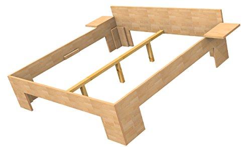Baßner Holzbau 27mm Echtholzbett Massivholzbett Buche 200x200 Fuß II 44cm Rahmenhöhe