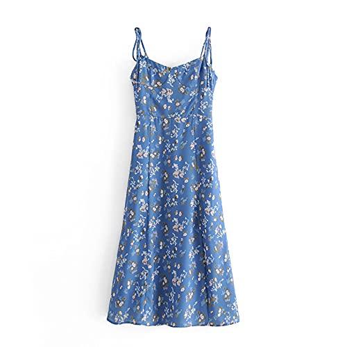 ShZyywrl Vestido De Noche De Graduación para Mujer Vestir Vestidos Retro Vestido Elegante Delgado Vestido De Tubo con Estampado Floral Azul Vintage Vestido De Mujer S