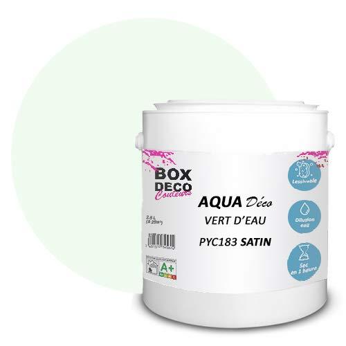Peinture acrylique aspect satin Aqua déco - Murale - 44 couleurs - 2,5 L - 25 m² (Vert d'eau)