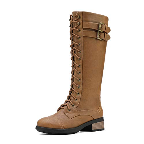 DREAM PAIRS Women's Georgia Camel Faux Leather Pu Knee High Riding Combat Boots Size 11 M US