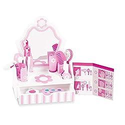 Ofertas Tienda de maquillaje: El juego de salón de belleza Melissa & Doug de madera es un juego de 18 piezas de maquillaje para niños, pelo y uñas de belleza de salón de belleza Excelente juego de rollo de papel de salón de belleza: nuestro juego de salón de belleza incluye un se...