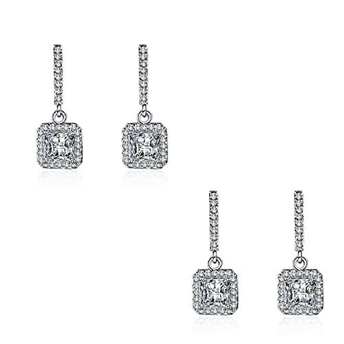 2/4 pares de pendientes con forma de corazón de circonita, pendientes cuadrados de diamante, elegantes flores de sol, plata con incrustaciones de diamante, el mejor regalo para niñas (B, 2 pares)