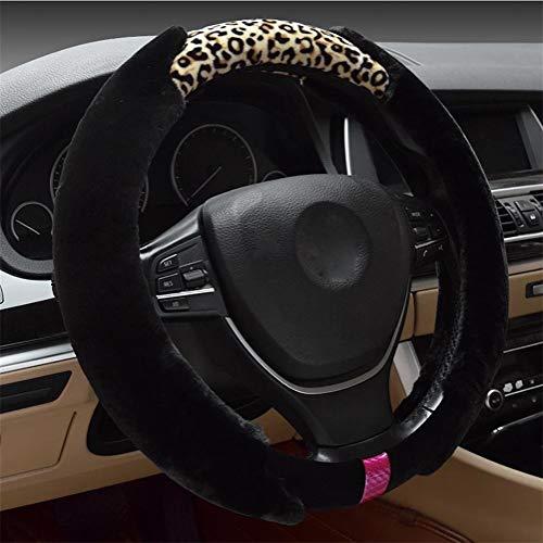 ZHAS Volante da Donna Premium in Pelliccia per la Moda Invernale, Leopardo Nero