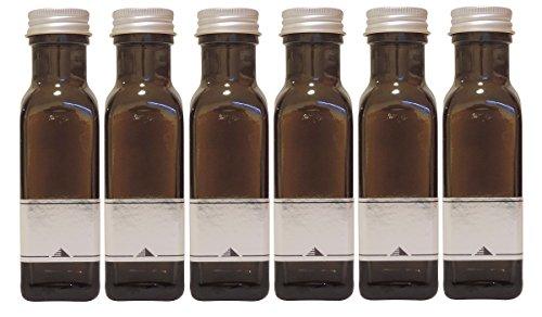 Mikken Ölflasche 100ml 6er Set grün-braune Glasflasche zum selbst befüllen, inkl. 6 Etiketten