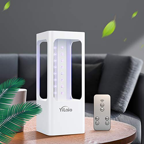[Versión mejorada] Lámpara de esterilización LED YiLaie UVC, tasa de desinfección del 99,99%, 32 luces LED germicidas con control remoto con sensor de movimiento
