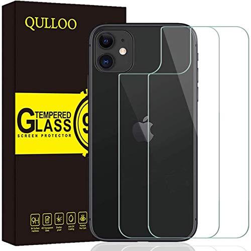 QULLOO Back Pellicola per iPhone 11, Pellicola Protettiva Posteriore Full Coverage Vetro Temperato Anti-graffio Copertina Completa Durezza per iPhone 11-2 Piezas