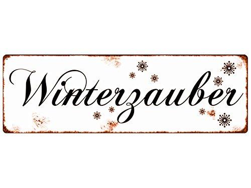 METALLSCHILD Shabby Vintage Blechschild WINTERZAUBER Weihnachtszeit Winter Schnee Advent Weihnachten