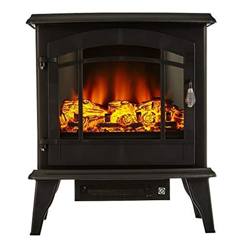 Elektrischer Kamin mit Flammeneffekt,51x28x59cm,Energie Sparen LED-Flammeneffekt 3D realistischer Feuer Kaminofen elektrisch freistehend Heizleistung stufenlos regelbar, geräuscharm, schwarz