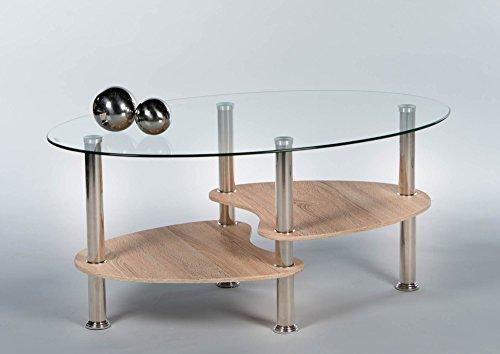 lifestyle4living Couchtisch in Eiche-Dekor mit Glasplatte und Ablagefach, Tischbeine aus Edelstahl | Schöner Wohnzimmertisch für gemütliche Wohnzimmer