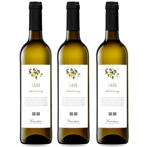 LAUS Chardonnay, Vino Blanco - Añada 2019 - D.O. Somontano - Paquete de 3 Botellas, 75cl -Potente y Fresco - Elaborado con variedad Chardonnay - Elegante Aroma Frutal