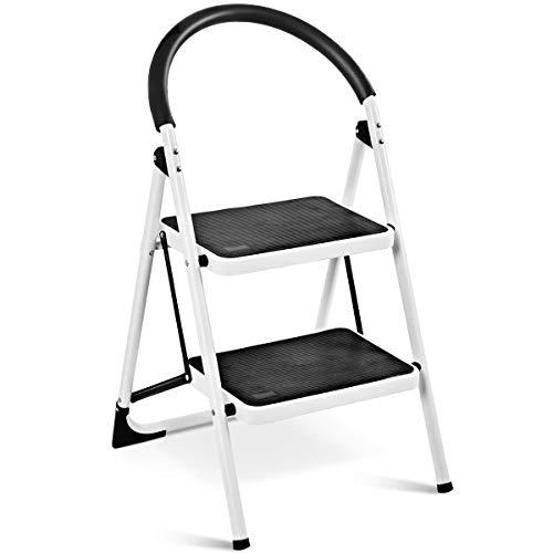 GOPLUS 2-Stufen Trittleiter, Stufenleiter aus Stahl mit Anti-Rutschmatte, Stahl-Klapptritt Stahl-Trittleiter Raumsparend Platzsparend, Stehleiter Klappsicherung Klappbar, Weiß und Schwarz
