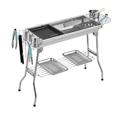 FU LIAN Holzkohlegrill, Edelstahl, faltbar, Outdoor-Grill-Kit für Campingkochen/Backofen + Edelstahlgrill + 8-teiliges Set