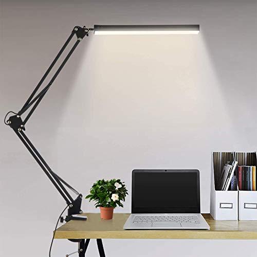 Schreibtischlampe LED Tischlampe Schreibtischlampen Klemmbar, 3 Farbtemperaturen 10 Helligkeiten Dimmbar USB Architektenlampe Memory Funktion, Geeignet für Büro, Lesen,Studieren,10W, Schwarz