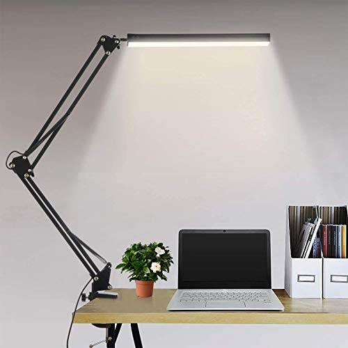 Lámpara de escritorio LED Lámpara de lectura de brazo oscilante de metal con abrazadera Eye-Care Modern Architect Lámpara de mesa de oficina regulable con 3 modos de color 10 niveles
