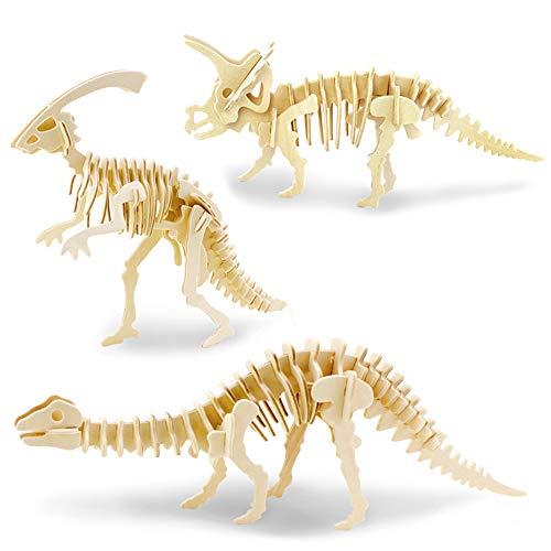 Georgie Porgy Modelos de Animales de Madera en 3D, Kit de Construcción de Artesanía en Madera de Rompecabezas ños de Edad para Niños de 5+ (3 Piezas, Parasaurolophus Apatosaurus Triceratops)