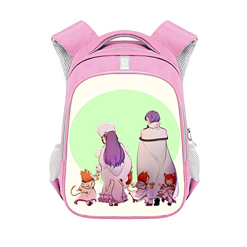 CJIUDI Character Cartoon Backpack,Student Backpack,Durable Unisex Rucksack,Large-Capacity Zipper Bag,with Headphone Jack,Unisex School Bag,Suitable for 15.6-Inch Laptops,Pink 15