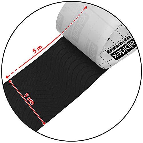6 x Kinesiologie Tape 5 cm x 5 m in verschiedenen Farben von Alpidex, Farbe:schwarz - 4