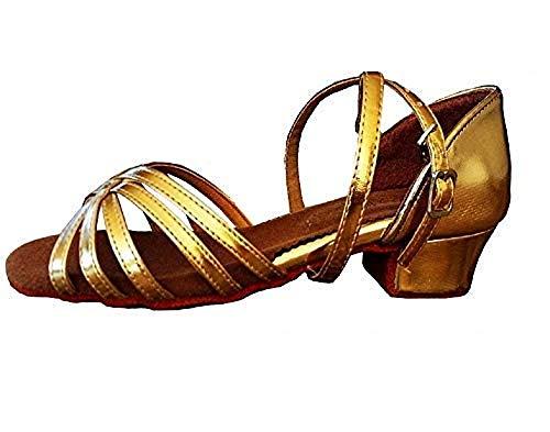 Scarpe da Ballo Latino Americano - Bambine - Ragazze - Ballroom - Colore Oro - Taglia 33 EU - Idea Regalo Natale e Compleanno