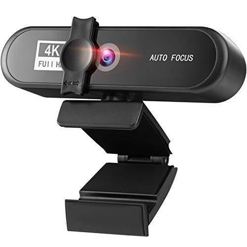 Webcam 1080p 2K 4K Conferencia PC Webcam AutoFocus USB cámara Web Laptop Desktop For Office Meeting Home con Mic 1080P HD Web CAM Webcam con Microfono para Pc (Color : 4K Webcam)