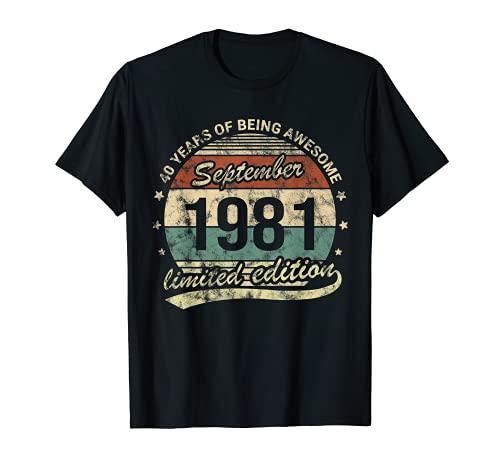 Septiembre 1981 40 Años Cumpleaños Hombre Mujer Awesome Camiseta