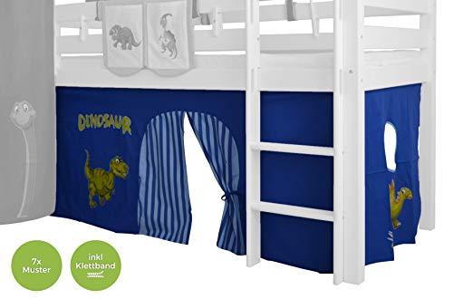 XXL Discount Gordijn 3-delig 100% katoen stof gordijn bedgordijn incl. klittenband voor hoogslaper speelbed stapelbed stapelbed kinderbed Lichtblauw/donkerblauw, Dino