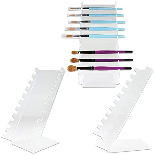Beauticom (Quantity: 3 Pieces) Waterfall Pen Display Stand 10-Slots Premium Clear Acrylic Holder for Pen, Makeup Brush, E-Cigarette, Vapor, Pencil Display Stand. Premium Quality & Durable