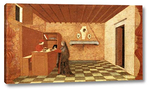 "Miracle of The Desecrated Host Scene 1 by Paolo Uccello - 11"" x 20"" Gallery Wrap Canvas Art Print - Ready to Hang"