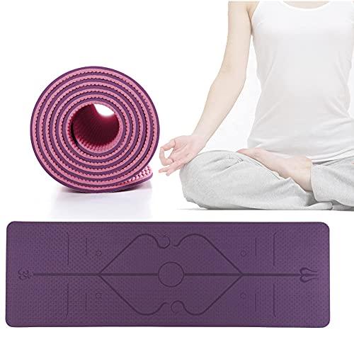 Estera de yoga, amigable ecológico, estera de ejercicios de aptitud antideslizante, línea de guía positiva, grosor de 6 / 8mm, estera de entrenamiento para yoga, pilates y gimnasia Inicio / Negro / 18